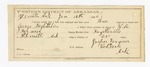 1886 January 11: Partial voucher, U.S. v. George McGlothlin, introducing spirituous liquor in the Indian Country; includes cost for service as guard and feeding prisoner; Jasper Farmer, guard; W.R. Farmer, deputy marshal; E.B. Harrison, commissioner