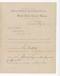 1886 February 16: Report, of violations of the internal revenue law; M.H. Sandels, U.S. attorney; Sam Griffith, offender, retailing liquor without payment of special tax; T.B Wilson, witness; Thomas H. Simms, collector