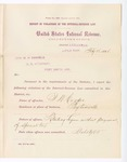1886 February 16: Report, of violations of the internal revenue law; M.H. Sandels, U.S. attorney; J.W. Cooper, offender, retailing liquor without payment of special tax; A. Wright, R.S. Clayton, witnesses; Thomas H. Simms, collector