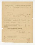 1886 March 15: Partial voucher, U.S. v. Thompson Harris, introducing spirituous liquor into Indian Country; includes cost of warrant and feeding prisoner; Solomon Snider, Simon Foster, Cooper Folsom, witnesses; S.J.B. Fair, deputy marshal; Stephen Wheeler, commissioner
