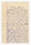 1886 March 22: Statement sworn by J.E. Richardson, regarding his custody over the following prisoners: William Pigeon, muder; Washington Swimmer and Nick Coming Deer, larceny; Andrew Christian, assault; John Vann, assault