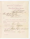 1886 March 19: Report, of violations of the internal revenue law; M.H. Sandels, U.S. attorney; Tom Gilbert, offender, retailing liquor without payment of special tax; James Tedden, Jim Whiteon, Bill Phillips, Leon Hite, witnesses; Thomas H. Simms, collector