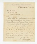 1886 March 25: Letter, to M.H. Sandels, U.S. district attorney, from Thomas H. Simms, collector; regarding an affidavit charging One Moorehead selling liquor without a license; mentions Stephen Wheeler, commissioner; O.J Pope, deputy marshal