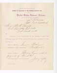 1886 April 23: Report, of violations of the internal revenue law; M.H. Sandels, U.S. attorney; Lucus Malan, offender, retailing liquor without payment of special tax; R.T. Bumpas, H.M. Magnass, Henry Shady, W.R. Wallace, witnesses; Thomas H. Simms, collector; Stephen Wheeler, commissioner