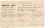 1887 May 5: Voucher, U.S. v. Douglass Colbert and Calvin James, introducing spiritous liquor; includes cost of per diem and mileage; J.N. Cox, J.B. Lee, A.S. Barnhill, witnesses; John Carroll, U.S. marshal; Stephen Wheeler, commissioner; A.S. Vandervent, witness of signatures
