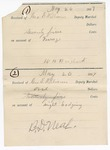 1887 May 26: Receipts, of George E. Williams, deputy marshal, for ferriage and lodging; B.D. Neal, W.H. Hugart, signature