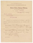 1887 June 15: Report, of violations of the internal revenue law; M.H. Sandels, district attorney; McHenry and Bryan, offenders, selling manufactured tobacco without paying tax; Thomas H. Simms, collector; handwritten note recommending no prosecution