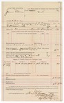 1887 October 5: Voucher, U.S. v. James Patterson, introducing and selling spiritous liquor; includes cost of mileage and feeding prisoner; J.B. Lee, deputy marshal; John Carroll, U.S. marshal; N.F. Krebbs, witness; Thomas Shelburn, posse comitatus; Stephen Wheeler, clerk; Ed Haglin, deputy clerk