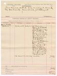 1887 July 25: Venire facias, commanding the summons of W.G. James, John B. McGill, G.F. Allman, H.W. Hudson, J.T. Milsap, John A. Nichols, J.C. McCubbins, F.H. Howard, Ernest Warren, D.M. Jetton, T.B. Adair, Augustus Culberman, John Tibbs, Thomas Cannon, E.P. Fastrand, J.M. Patton, Albert Schuler, James Juekran, W.D. Abernathy, C.B. Randall, George Semand, W.B. Park, jurors; J.C. Pettigrew, deputy marshal