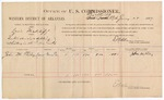 1887 January 28: Voucher, U.S. v. Lewis Wickliff, introducing and selling whiskey; includes cost of per diem and mileage; John M. Riley, witness; John Carroll, U.S. marshal; E.B. Harrison, commissioner
