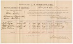 1887 February 25: Voucher, U.S. v. Mike Kelly, introducing spirituous liquors into Indian Country; to witnesses: W.B. Fields, Louisa Fields, John Durman and John Matney, for assisting John Carroll, U.S. marshal, in ; Stephen Wheeler, commissioner; includes cost of per diem and mileage