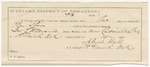1887 March 31: Voucher, U.S. v. Ben Shawn, threatening; includes cost of ferriage, hired horse, and warrant; George E. Williams, deputy marshal; Stephen Wheeler, commissioner; Green Collier, A. West, William Collier, Mase Johnson, witnesses; Algah Hall, guard