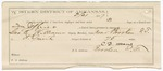 1887 March 19: Voucher, U.S. v. Tom Jeffries, threatening; includes cost of lodging, hired horse, and warrant; George E. Williams, deputy marshal; Stephen Wheeler, commissioner; G.W. Dotson, witness; Algah Hall, posse comitatus; C.D. Means, guard