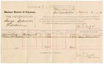 1887 April 6: Voucher, U.S. v. Simon Solomon, larceny; includes cost of per diem and mileage; James S. Dodson, Wiley McIntosh (line through name), witnesses; John Carroll, U.S. marshal; Jonathan Q. Tufts, commissioner