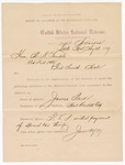 1887 August 13: Report, of violations of the internal revenue law; M.H. Sandels, district attorney; James Park, offender, retailing liquor without payment of special tax; Jack Downs, Frank Bowling, witnesses; J.S. Whiting, collector