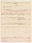 1888 January 5: Voucher, U.S. v. Samuel Yates, introducing spirituous liquors; B.T. Kill, deputy marshal; West Martin, Tom Miller, witnesses; A.B. Cass, Charles Drew, Joe McIntosh, witnesses in U.S. v. George Smart, larceny; Peter Coleman, Dr. Barnett, witnesses in U.S. v. Babe Mahardy, larceny; includes cost of mileage and subpoena for witnesses