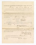 1886 May 7: Voucher, to Ennus Pryor; includes cost of service as witness; S.A. Williams, deputy clerk; Stephen Wheeler, clerk; A.S. Vandeventer, chief deputy; John Carroll, U.S. marshal