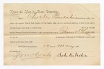 1886 May 13: Voucher, to Charles Berkshire, witness; includes cost of service as witness; S.A. Williams, deputy clerk; Stephen Wheeler, clerk; A.S. Vandeventer, chief deputy; John Carroll, U.S. marshal; attached, letter of appointment of John S. Park Cashier, attorney, by Charles Berkshire; J. McCombs, witness of signatures