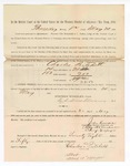 1886 May 20: Voucher, to Charles Pritchett, witness; includes cost of service as witness; S.A. Williams, deputy clerk; Stephen Wheeler, clerk; A.S. Vandeventer, chief deputy; John Carroll, U.S. marshal; Max A. Mayer, witness of signature