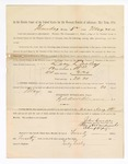 1886 May 20: Voucher, to Lacy Lasley, witness; includes cost of service as witness; S.A. Williams, deputy clerk; Stephen Wheeler, clerk; A.S. Vandeventer, chief deputy; John Carroll, U.S. marshal; Max A. Mayer, witness of signatures