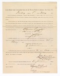 1886 May 21: Voucher, to Ulysses Legate, witness; includes cost of service as witness; S.A. Williams, deputy clerk; Stephen Wheeler, clerk; A.S. Vandeventer, chief deputy; John Carroll, U.S. marshal; Max A. Mayer, witness of signatures