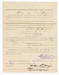 1886 May 21: Voucher, to William T. Morgan, witness; includes cost of service as witness; S.A. Williams, deputy clerk; Stephen Wheeler, clerk; A.S. Vandeventer, chief deputy; John Carroll, U.S. marshal; Max A. Mayer, witness of signature