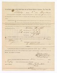 1886 May 22: Voucher, to Allen Foutch, witness; includes cost of service as witness; S.A. Williams, deputy clerk; Stephen Wheeler, clerk; A.S. Vandeventer, chief deputy; John Carroll, U.S. marshal; Max A. Mayer, witness of signatures