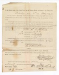 1886 May 22: Voucher, to William H. Southerland, witness; includes cost of service as witness; S.A. Williams, deputy clerk; Stephen Wheeler, clerk; A.S. Vandeventer, chief deputy; John Carroll, U.S. marshal; M.J. Mayer, witness of signature