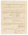 1886 May 24: Voucher, to James Childers, witness; includes cost of service as witness; S.A. Williams, deputy clerk; Stephen Wheeler, clerk; A.S. Vandeventer, chief deputy; John Carroll, U.S. marshal; Max A. Mayer, witness of signatures