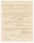 1886 May 24: Voucher, to William Richardson, witness; includes cost of service as witness; S.A. Williams, deputy clerk; Stephen Wheeler, clerk; A.S. Vandeventer, chief deputy; John Carroll, U.S. marshal; Abe Mayer, witness of signatures