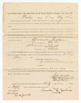 1886 May 24: Voucher, to Amanda Jackson, witness; includes cost of service as witness; S.A. Williams, deputy clerk; Stephen Wheeler, clerk; A.S. Vandeventer, chief deputy; John Carroll, U.S. marshal; W.H. Jacobs, witness of signatures