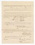 1886 May 24: Voucher, to Henry Childers, witness; includes cost of service as witness; S.A. Williams, deputy clerk; Stephen Wheeler, clerk; A.S. Vandeventer, chief deputy; John Carroll, U.S. marshal; Max A. Mayer, witness of signatures