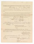 1886 May 24: Voucher, to Agnes Bohannon, witness; includes cost of service as witness; S.A. Williams, deputy clerk; Stephen Wheeler, clerk; A.S. Vandeventer, chief deputy; John Carroll, U.S. marshal; Max A. Mayer, witness of signatures