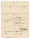 1886 May 24: Voucher, to William Adkins, witness; includes cost of service as witness; S.A. Williams, deputy clerk; Stephen Wheeler, clerk; A.S. Vandeventer, chief deputy; John Carroll, U.S. marshal; Max A. Mayer, witness of signatures