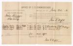 1886 July 30: Voucher, U.S. v. John Scruggs, larceny; includes cost of per diem and mileage; Dempsey Coble, Solomon Fulk, Charles Keys, witnesses; Jonathan Q. Tufts, commissioner; E.B. Tufts, witness of signatures; John Carroll, U.S. marshal