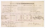 1886 July 5: Voucher, U.S. v. Jane Mize et al., proceedings to keep the peace; includes cost of per diem and mileage; William Higgins, W.M. Goins, Annie Mize, Polly Ann Meblure, Sarah A. Balt, witnesses; James Brizzolara, commissioner; W.H. Sanders, district attorney; John Carroll, U.S. marshal