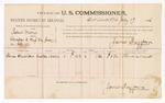 1886 July 17: Voucher, U.S. v. Robert Morris, proceedings to keep the peace; includes cost of per diem and mileage; Thomas Alexander, witnesses; James Brizzolara, commissioner; John Carroll, U.S. marshal