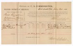 1886 July 24: Voucher, U.S. v. Puik Donghe, introducing spiritous liquor; includes cost of per diem and mileage; Isaac Burris, J.C. Hoboy, John Leader, witnesses; Stephen Wheeler, commissioner; J.C. Carroll, witness to signatures