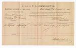 1886 August 18: Voucher, U.S. v. Gibson M. Nurlin, violating internal revenue laws; includes cost of per diem and mileage; J.W. Shiflett, witness; Stephen Wheeler, commissioner; John Carroll, U.S. marshal