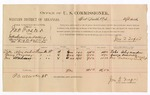 1886 September 13: Voucher, U.S. v. John Foster, introducing and selling spiritous liquors in Indian Country; includes cost of per diem and mileage; Tobe Alexander, Berry Bruner, John Hulsey, witnesses; Jonathan Q. Tufts, commissioner; John Carroll, U.S. marshal