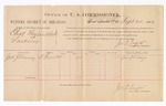 1886 September 20: Voucher, U.S. v. Charles Mylin et al., larceny; includes cost of per diem and mileage; John J. Kinney, witness; Jonathan Q. Tufts, commissioner; John Carroll, U.S. marshal