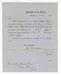1866 October: Letter, from John C. Cox, chief clerk, U.S. Department of the Interior; typed letter informing U.S. district court clerk of new laws passed at the first session of the 39th congress