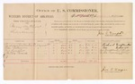 1886 October 25: Voucher, U.S. v. Berry Hutchins, larceny; includes cost of per diem and mileage; Richard Crittenden, Lou Roberson, John Sumpter, Bertha Parrish, witnesses; Jonathan Q. Tufts, commissioner; John Carroll, U.S. marshal; E.B. Tufts, witness to signatures