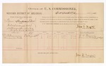 1886 October 27: Voucher, U.S. v. Tom Hubbard et al., introducing and selling spiritous liquors; includes cost of per diem and mileage; D.B. Foreman, Amanda Fish, witnesses; Jonathan Q. Tufts, commissioner; John Carroll, U.S. marshal; E.B. Tufts, witness to signatures