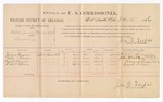 1886 November 15: Voucher, U.S. v. Willis Jacobs (alias One Willis), larceny; includes cost of per diem and mileage; James Rumir, John Black, Samuel Garoin, David Spain, witnesses; Jonathan Q. Tufts, commissioner; John Carroll, U.S. marshal; E.B. Tufts, witness to signatures