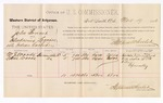 1886 November 19: Voucher, U.S. v. John Bonnet, introducing spiritous liquor; includes cost of per diem and mileage; M.J. Woods, William Woods, witnesses; Stephen Wheeler, commissioner; B. Connelley, witness to signatures