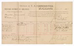 1887 January 10: Voucher, U.S. v. Douglass Murrell, larceny; includes cost of per diem and mileage; Granville Austin, Mitchell Bruner, George Fuller, Suter Brown, Ben Barnett witnesses; Jonathan Q. Tufts, commissioner; John Carroll, U.S. marshal; M.H. Sandels, district attorney; E.B. Tufts, witness of signatures