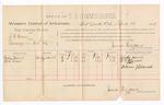 1888 April 12: Voucher, U.S. v. J.H. Green, larceny; includes cost of per diem and mileage; Wesley Harris, W.A. Snow, witnesses; James Brizzolara, commissioner; John Carroll, U.S. marshal