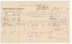 1888 July 12: Voucher, U.S. v. George Martin, larceny; includes cost for per diem and mileage; Giltendrum, John B. Paden, witnesses; Joe Harrison, witness to signatures; E.B. Harrison, commissioner;  John Carroll, U.S. marshal
