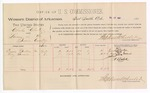 1888 July 17: Voucher, U.S. v. Charles Clark, larceny; includes cost of per diem and mileage; Emma Gordon, Lucy Givens, witnesses; John Carroll, U.S. marshal; A.S. Cabell, witness to signatures; Stephen Wheeler, commissioner
